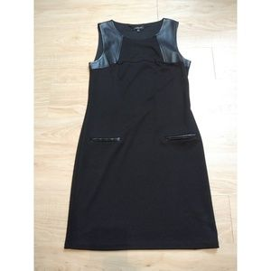 Spense sheath dress with faux leather accents